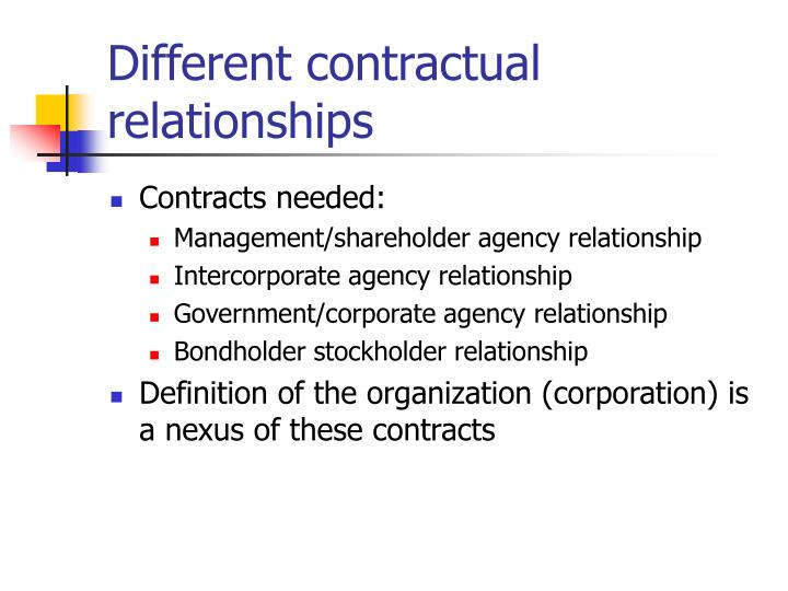 Different contractual relationships