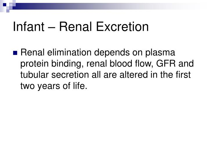 Infant – Renal Excretion