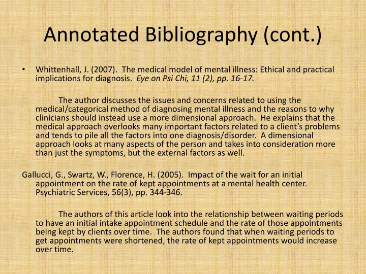Annotated Bibliography (cont.)