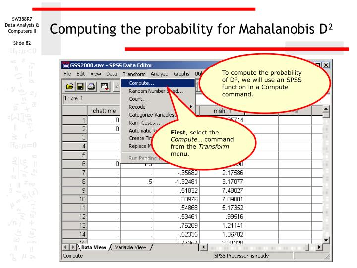 Computing the probability for Mahalanobis D²