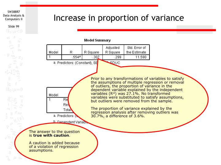 Increase in proportion of variance