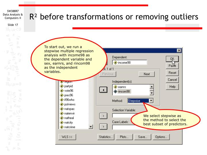 R² before transformations or removing outliers