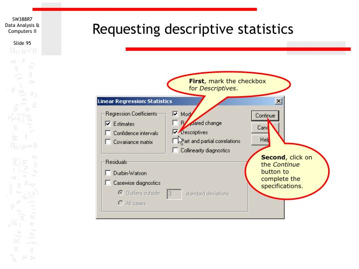 Requesting descriptive statistics