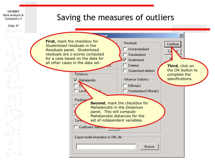 Saving the measures of outliers