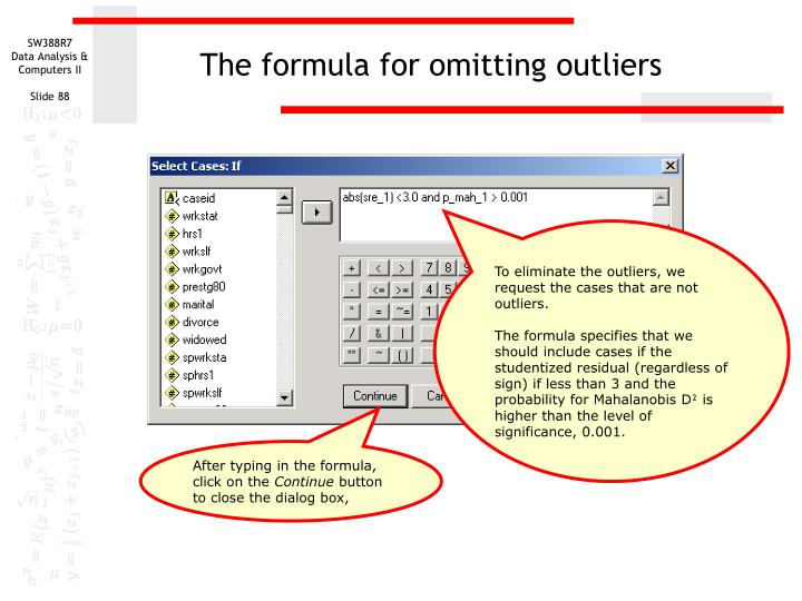 The formula for omitting outliers