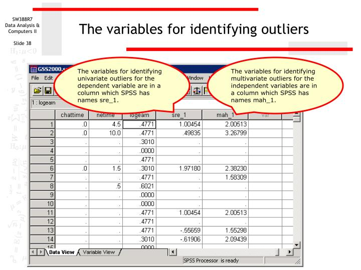 The variables for identifying outliers