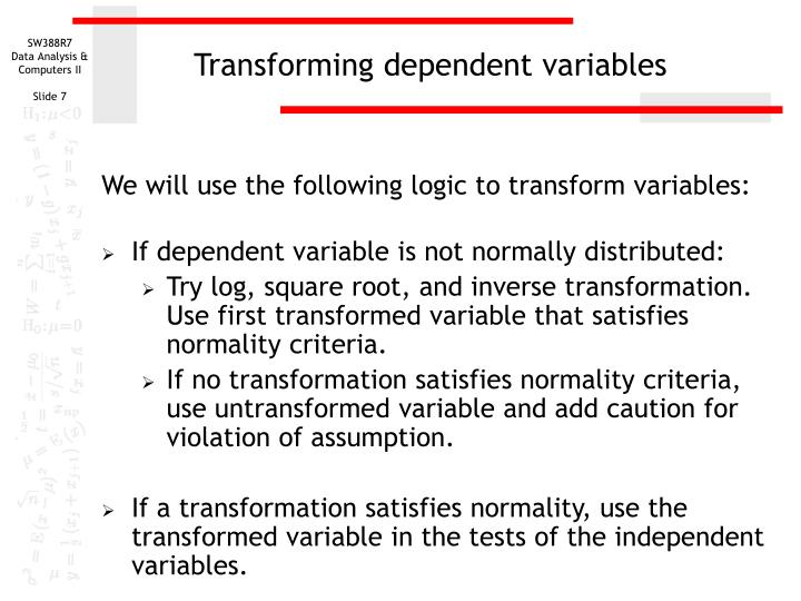 Transforming dependent variables