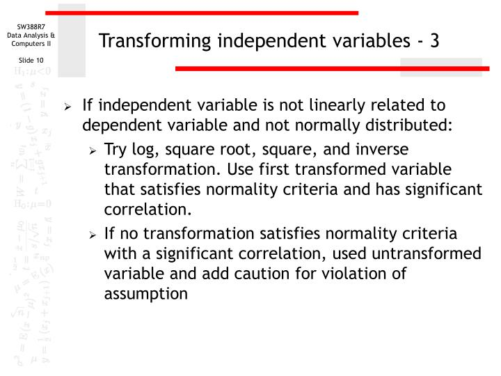 Transforming independent variables - 3