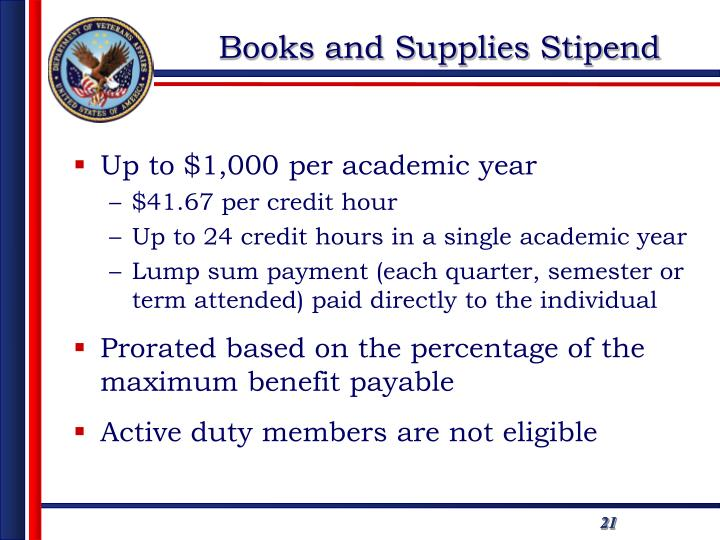 Books and Supplies Stipend