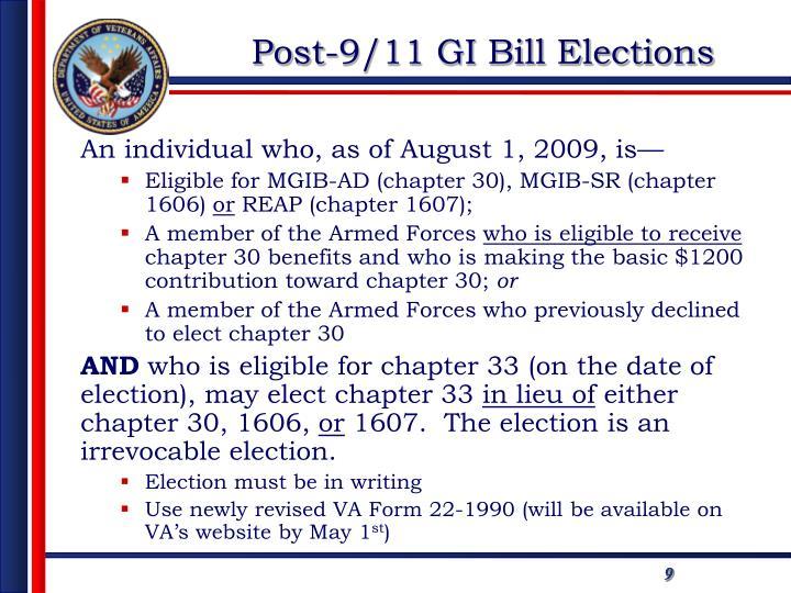 Post-9/11 GI Bill Elections