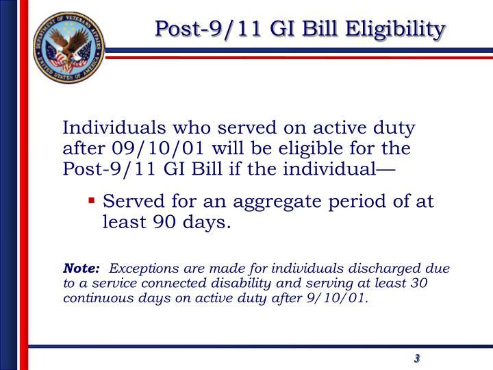 Post-9/11 GI Bill Eligibility