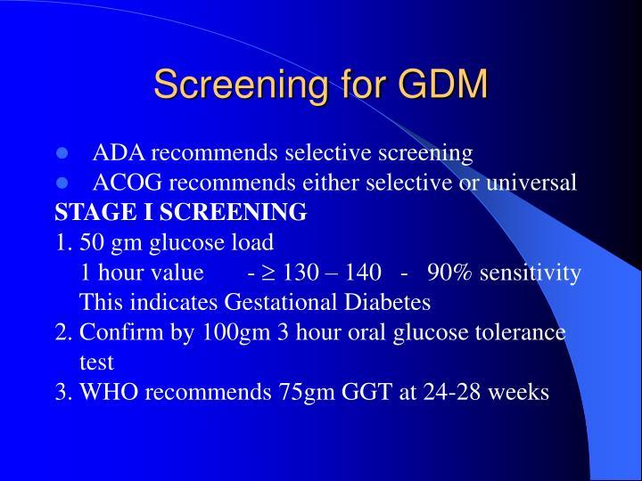Screening for GDM