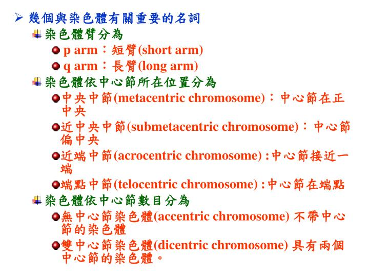 幾個與染色體有關重要的名詞