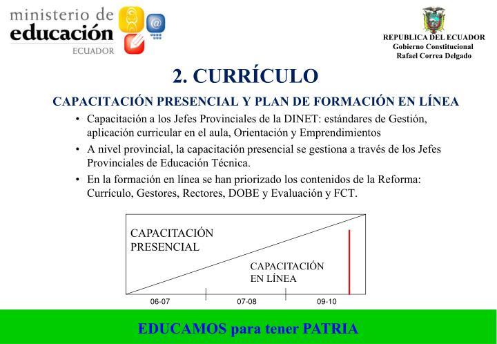 CAPACITACIÓN PRESENCIAL Y PLAN DE FORMACIÓN EN LÍNEA