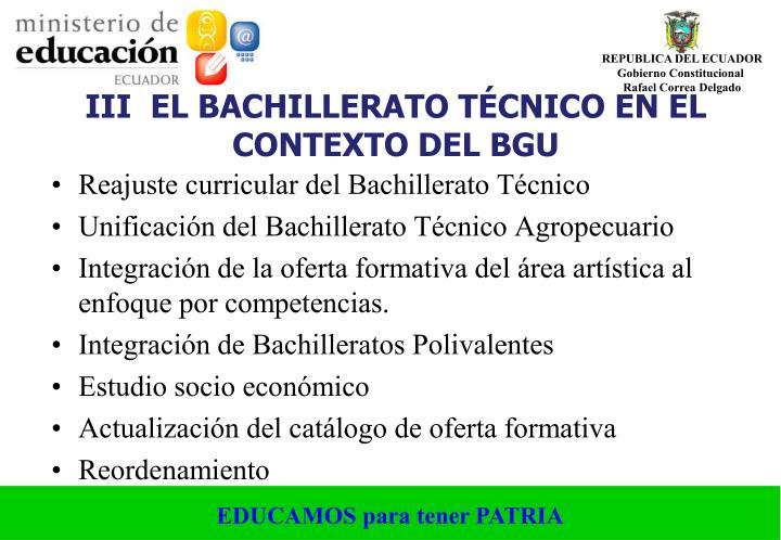 III  EL BACHILLERATO TÉCNICO EN EL