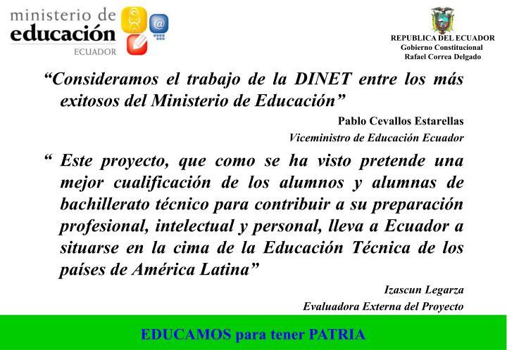 """""""Consideramos el trabajo de la DINET entre los más exitosos del Ministerio de Educación"""""""