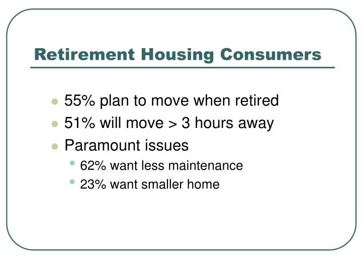 Retirement Housing Consumers