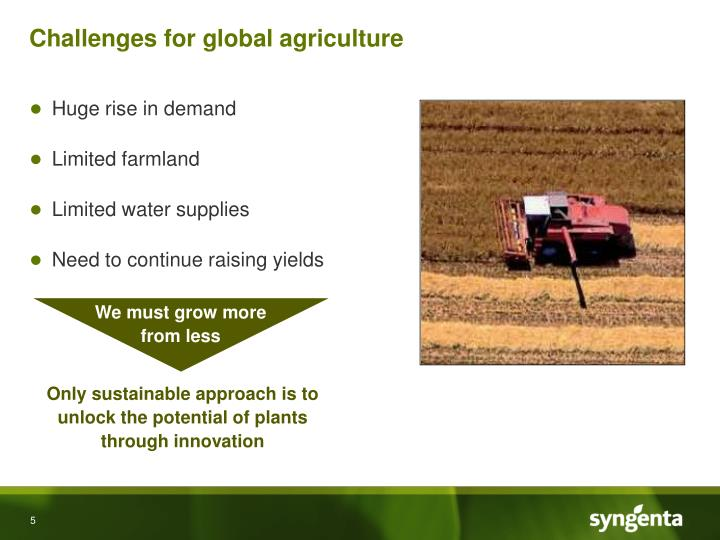 Challenges for global agriculture