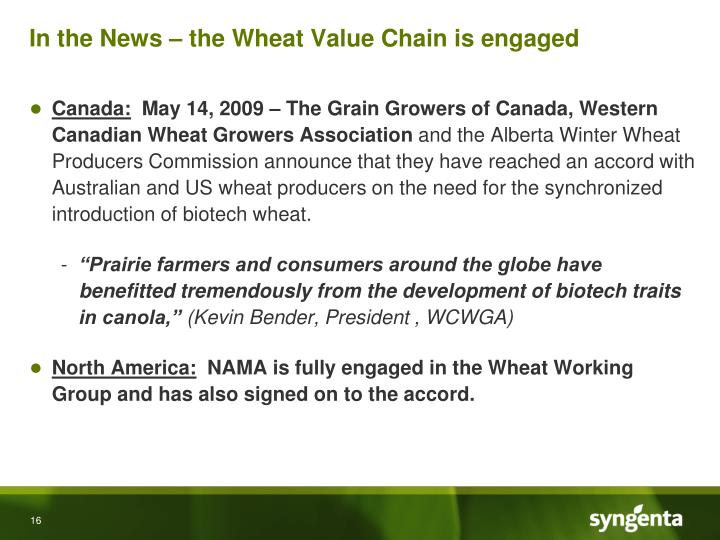 In the News – the Wheat Value Chain is engaged