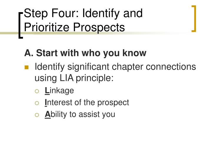 Step Four: Identify and Prioritize Prospects