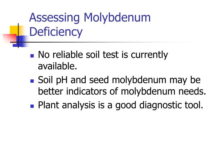 Assessing Molybdenum Deficiency