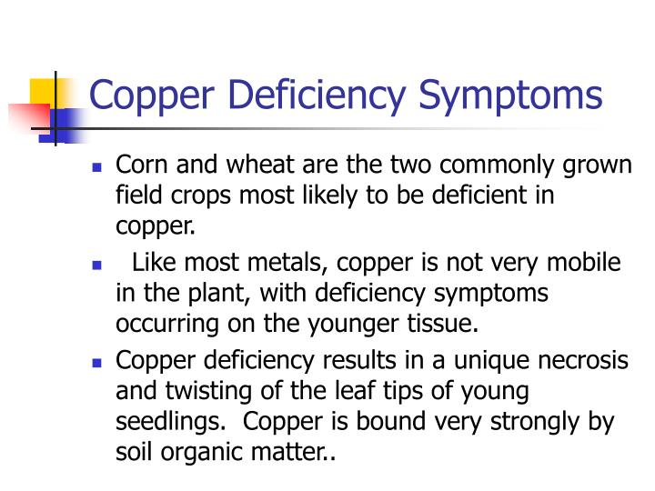 Copper Deficiency Symptoms