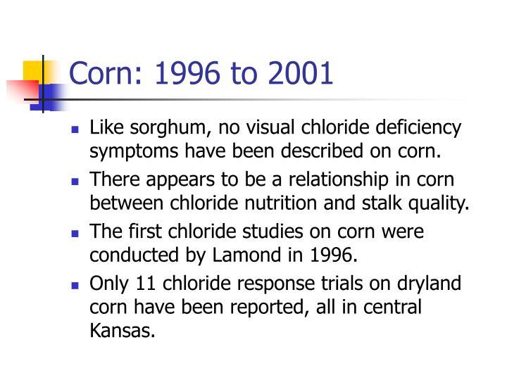 Corn: 1996 to 2001