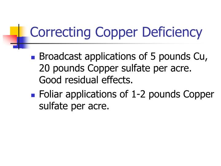 Correcting Copper Deficiency