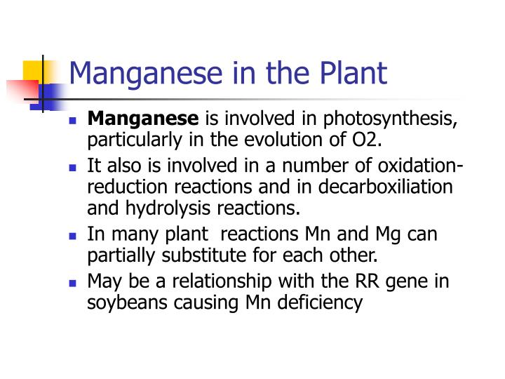 Manganese in the Plant