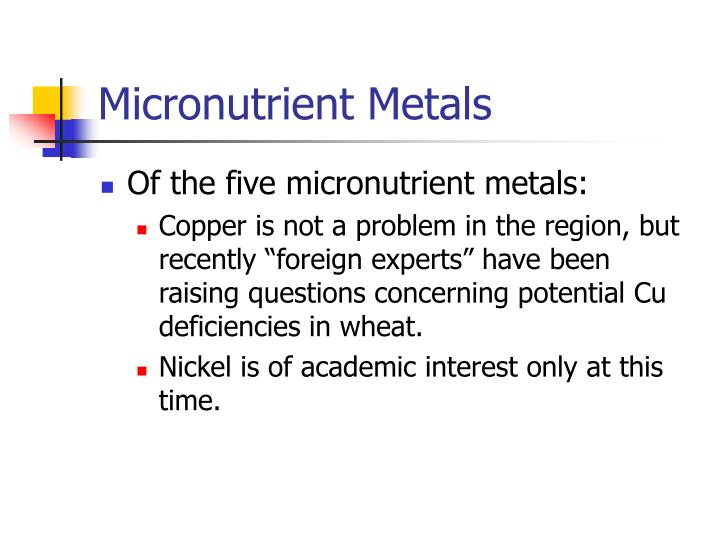 Micronutrient Metals