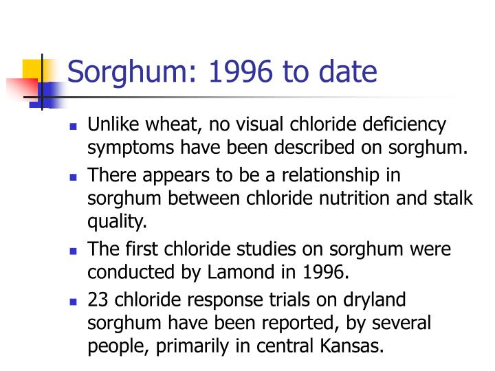 Sorghum: 1996 to date