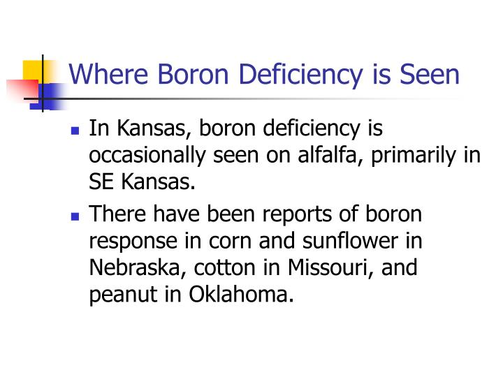 Where Boron Deficiency is Seen