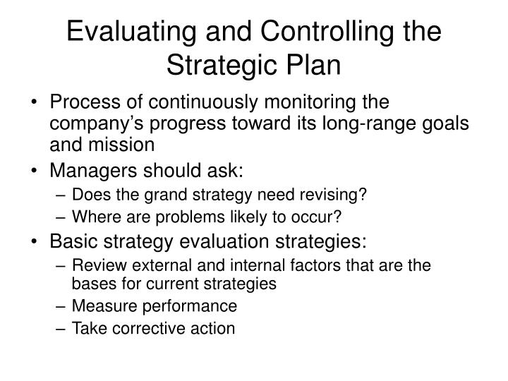 Evaluating and Controlling the Strategic Plan