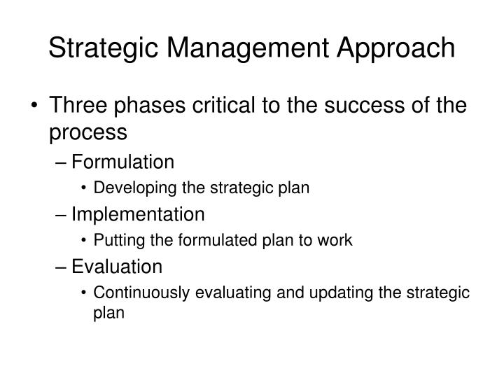 Strategic Management Approach