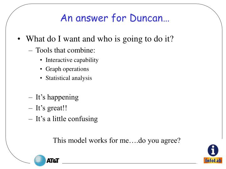 An answer for Duncan…