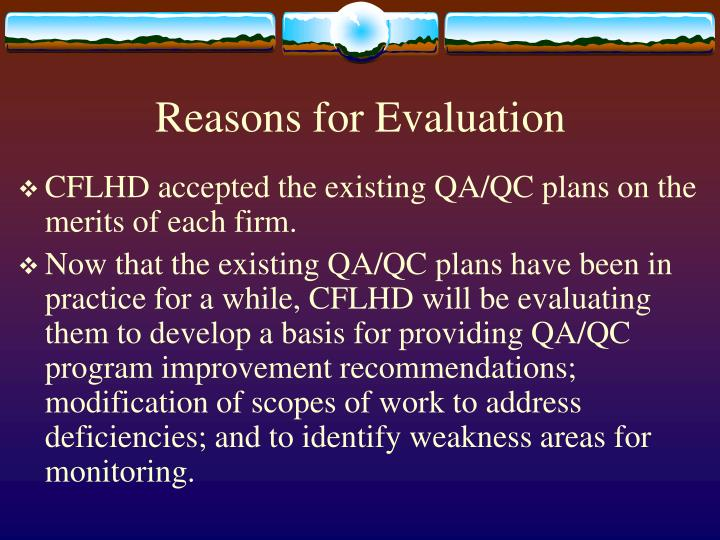 Reasons for Evaluation