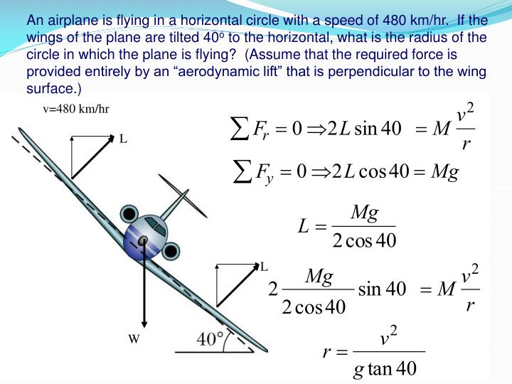 An airplane is flying in a horizontal circle with a speed of 480 km/hr.  If the wings of the plane are tilted 40