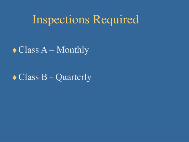 Inspections Required
