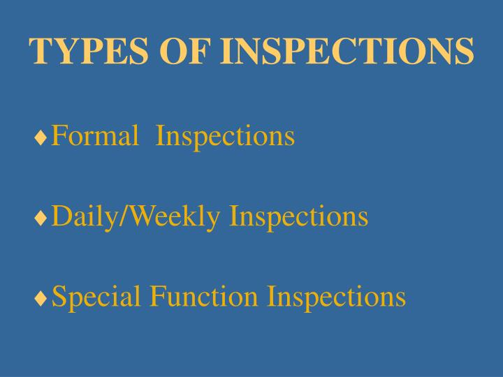 TYPES OF INSPECTIONS
