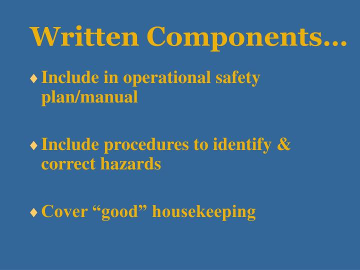 Written Components…