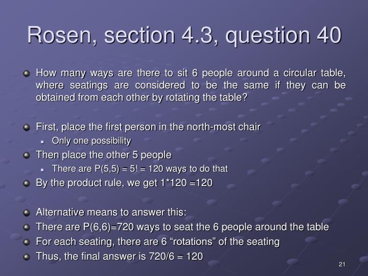 Rosen, section 4.3, question 40