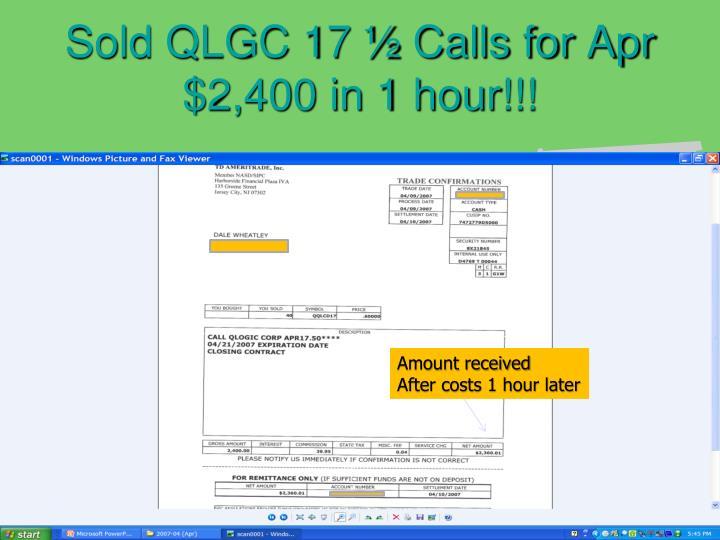 Sold QLGC 17 ½ Calls for Apr