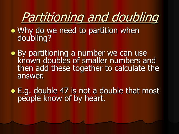 Partitioning and doubling
