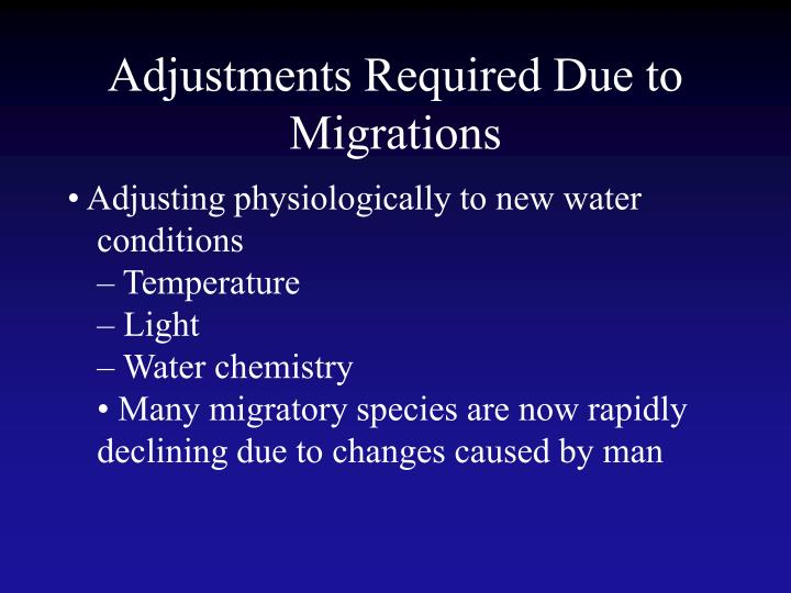 Adjustments Required Due to Migrations
