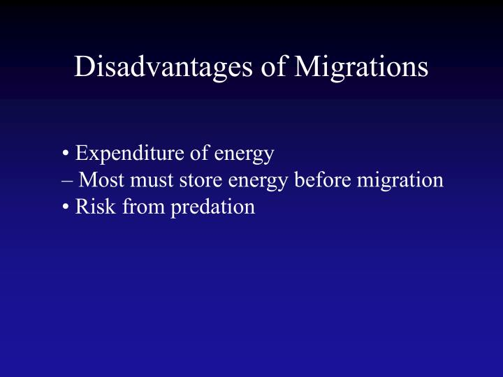 Disadvantages of Migrations