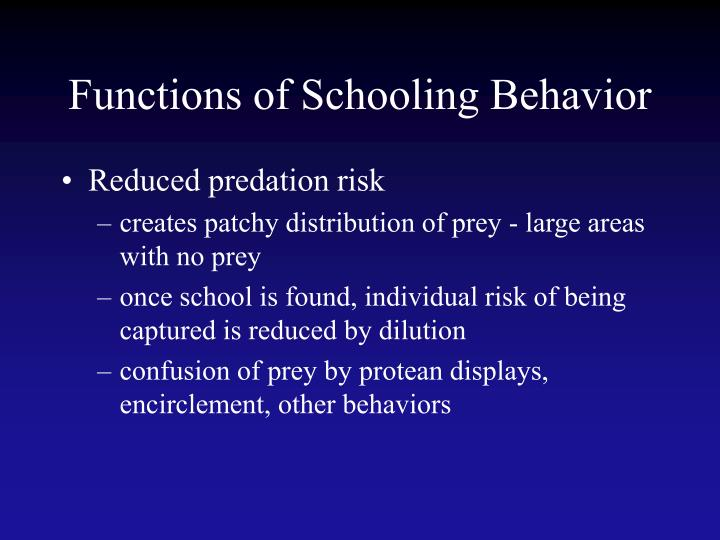 Functions of Schooling Behavior