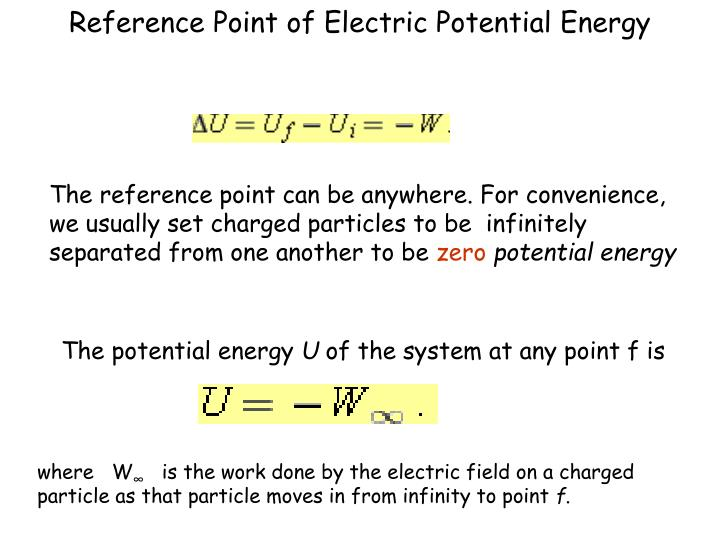 Reference Point of Electric Potential Energy