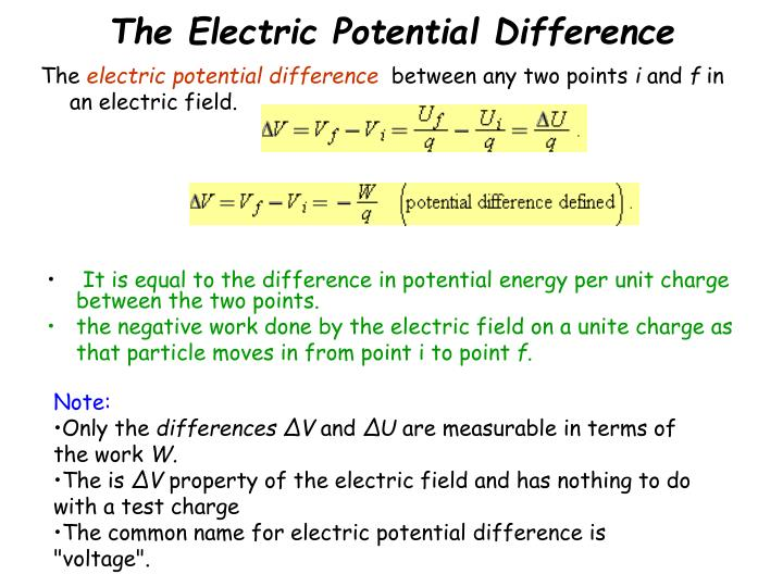 The Electric Potential Difference