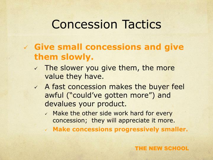 Concession Tactics