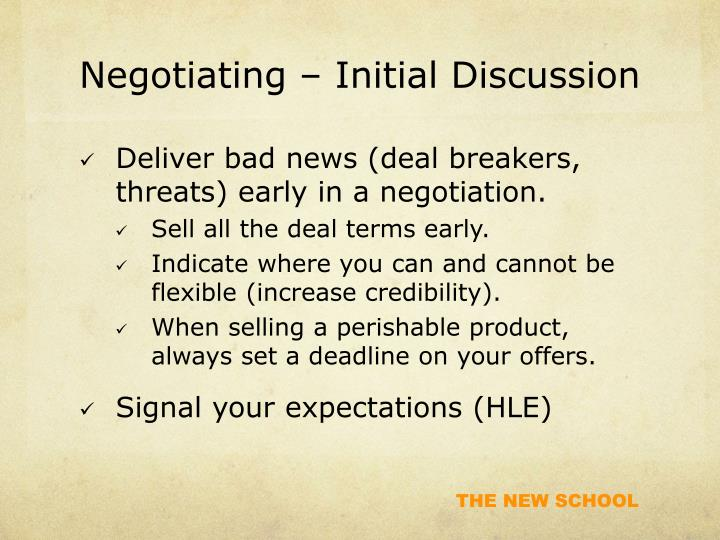 Negotiating – Initial Discussion